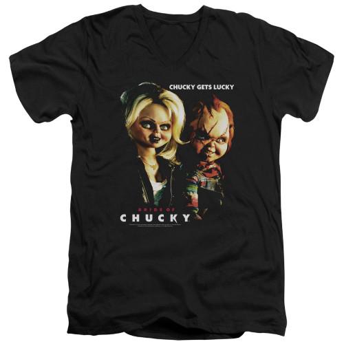 Image for Bride of Chucky V-Neck T-Shirt Chucky Gets Lucky
