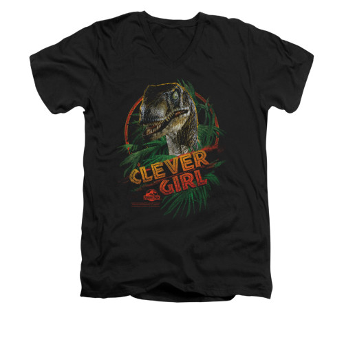 Image for Jurassic Park V-Neck T-Shirt - Clever Girl