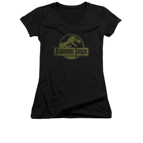 Image for Jurassic Park Girls V Neck T-Shirt - Distressed Logo