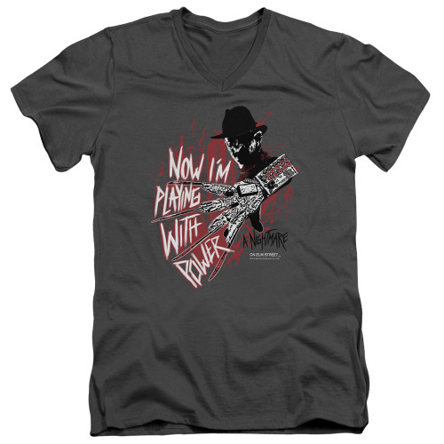 Image for A Nightmare on Elm Street V-Neck T-Shirt Playing Wth Power