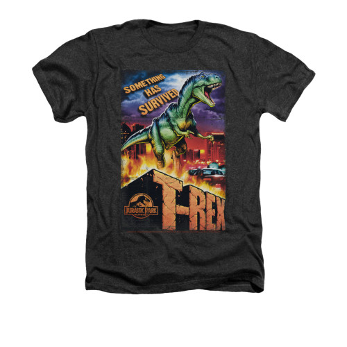 Image for Jurassic Park Heather T-Shirt - Rex in the City
