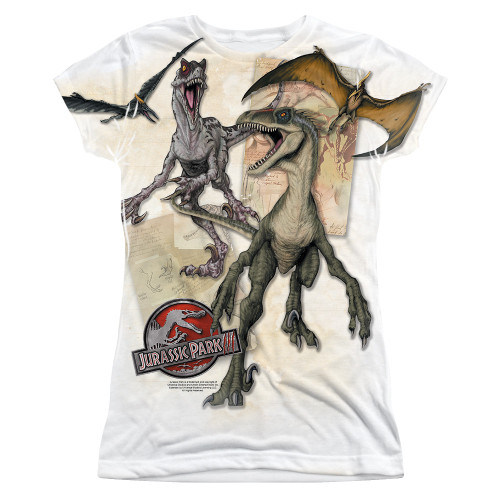 Image for Jurassic Park Girls Sublimated T-Shirt - Dino Drawings