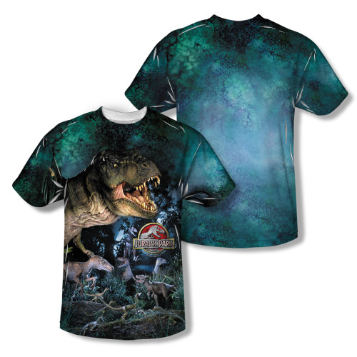 Image Closeup for Jurassic Park Sublimated Youth T-Shirt - Dinos Gather