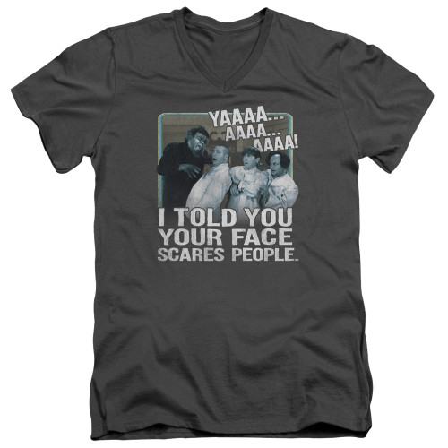 Image for The Three Stooges V-Neck T-Shirt Scares People