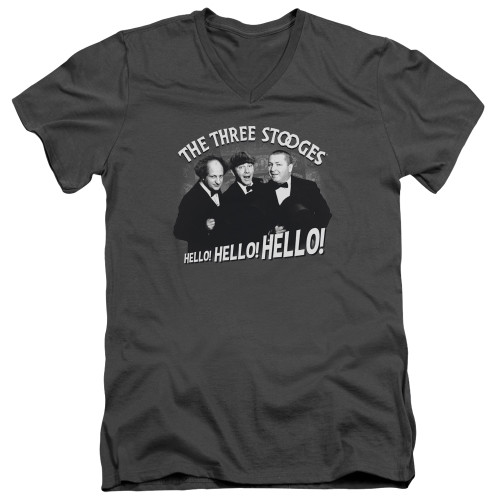 Image for The Three Stooges V-Neck T-Shirt Hello Again