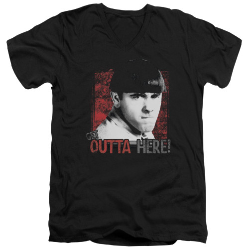 Image for The Three Stooges V-Neck T-Shirt Get Outta Here