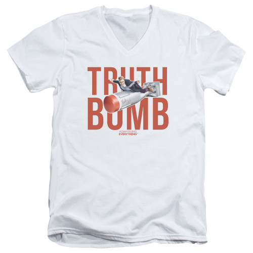 Image for Adam Ruins Everything V-Neck T-Shirt Truth Bomb on White
