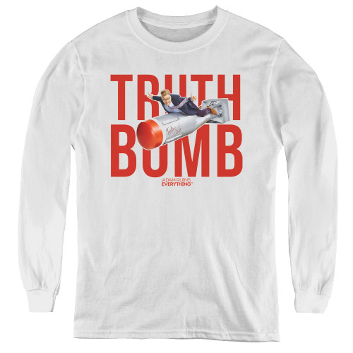 Image for Adam Ruins Everything Youth Long Sleeve T-Shirt - Truth Bomb on White