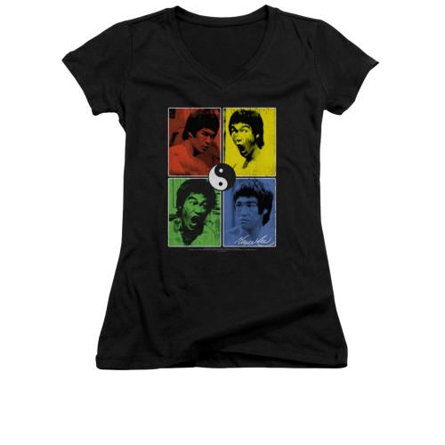 Image for Bruce Lee Girls V Neck T-Shirt - Color Black