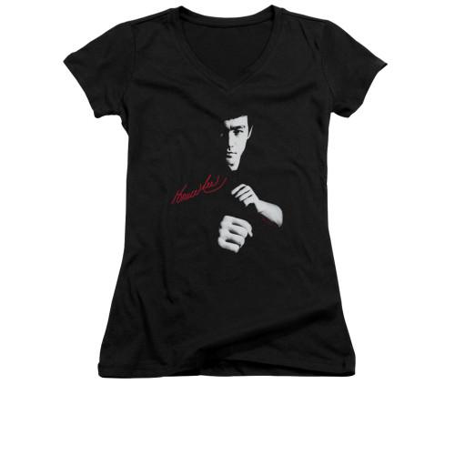 Image for Bruce Lee Girls V Neck T-Shirt - The Dragon Awaits