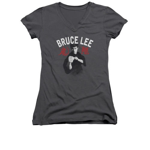 Image for Bruce Lee Girls V Neck T-Shirt - Ready