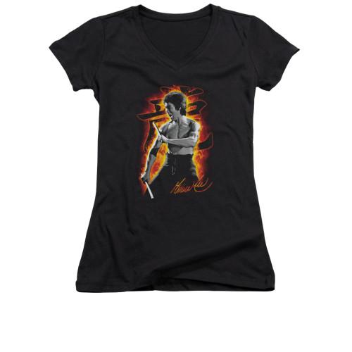 Image for Bruce Lee Girls V Neck T-Shirt - Dragon Fire