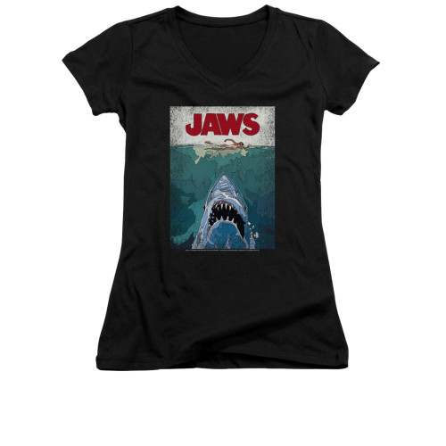 Image for Jaws Girls V Neck T-Shirt - Lined Poster