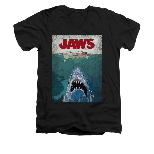 Jaws V-Neck T-Shirt - Lined Poster