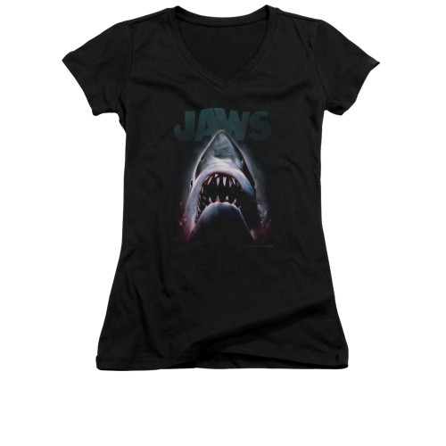 Image for Jaws Girls V Neck T-Shirt - Terror in the Deep