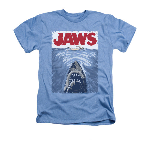 Image for Jaws Heather T-Shirt - Graphic Poster