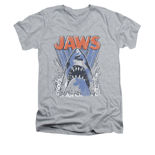 Image for Jaws V-Neck T-Shirt - Comic Splash