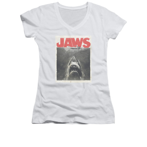Image for Jaws Girls V Neck T-Shirt - Classic Fear