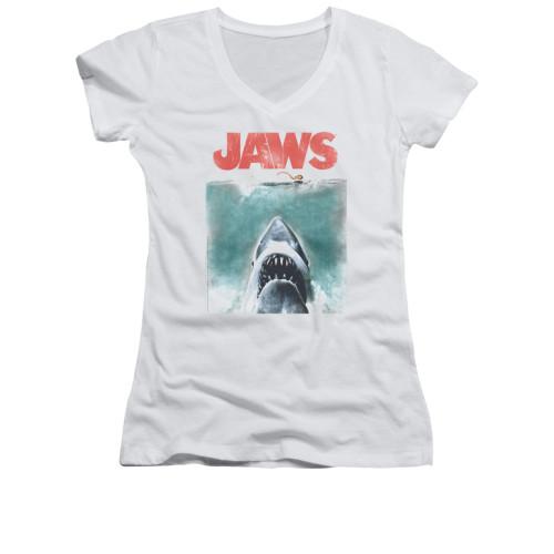 Image for Jaws Girls V Neck T-Shirt - Vintage Poster