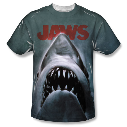 Image for Jaws Sublimated Youth T-Shirt - Poster 100% Polyester