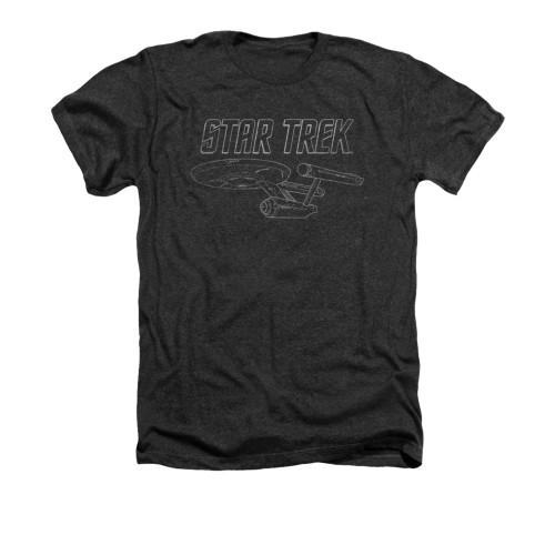 Image for Star Trek Heather T-Shirt - Enterprise Outline