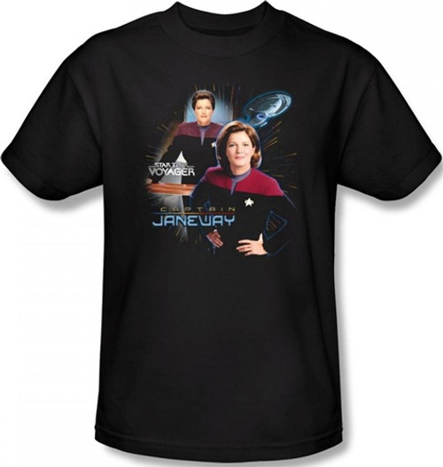 Image Closeup for Star Trek Voyager T-Shirt - Captain Janeway