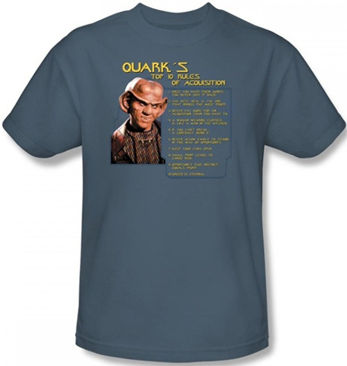 Image Closeup for Star Trek Deep Space Nine T-Shirt - Quark's Rules