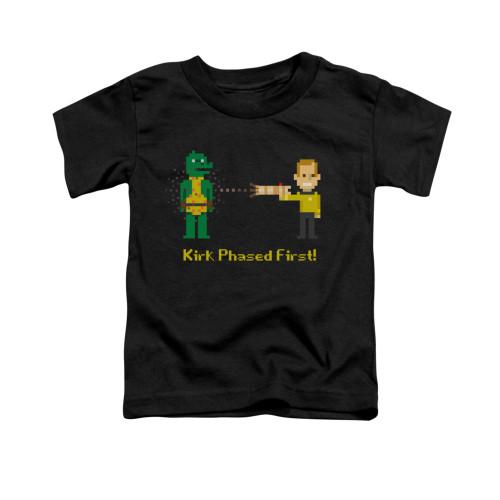 Image for Star Trek Toddler T-Shirt - 8 Bit Kirk Phased First
