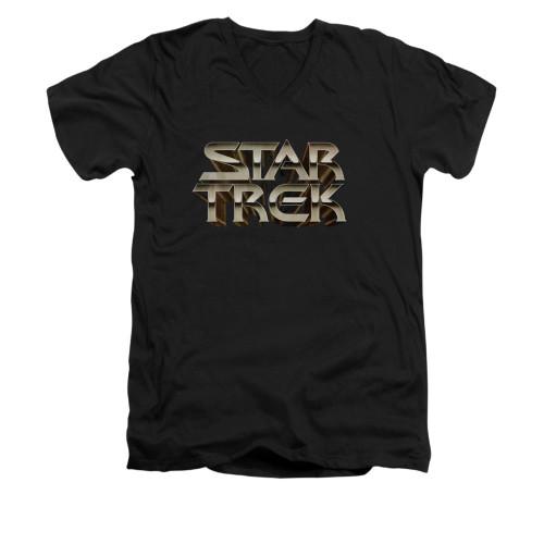 Image for Star Trek V Neck T-Shirt - Feel the Steel Logo