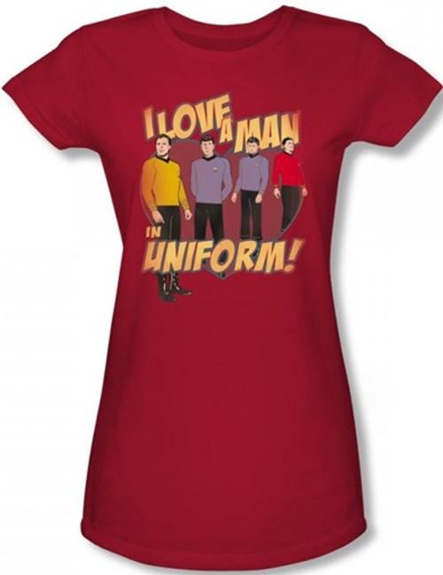 Image for Star Trek Girls T-Shirt - I Love a Man in Uniform