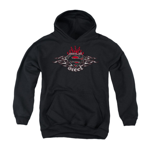 Image for Superman Youth Hoodie - Steel Flames Shield