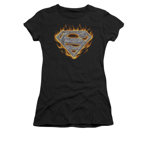 Image for Superman Juniors T-Shirt - Steel Fire Shield