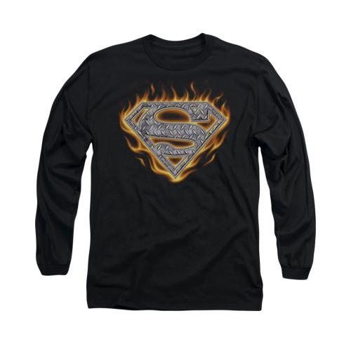Image for Superman Long Sleeve Shirt - Steel Fire Shield