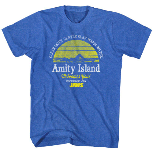 Image for Jaws T-Shirt - Amity Island Clear Skies Gentle Surf Warm Water