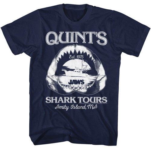Image for Jaws T-Shirt - Quints Shark Tours Amity Island Maine