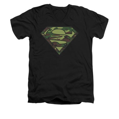 Image for Superman V Neck T-Shirt - Camo Logo
