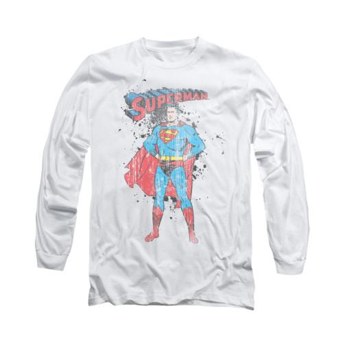 Image for Superman Long Sleeve Shirt - Vintage Ink Splatter