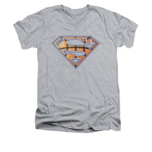 Image for Superman V Neck T-Shirt - Basketball Shield