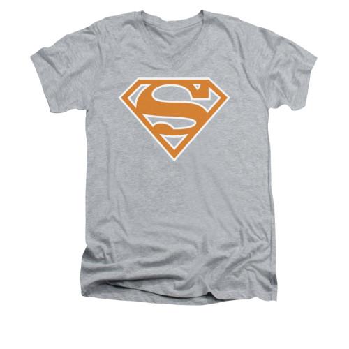 Image for Superman V Neck T-Shirt - Burnt Orange&white Shield
