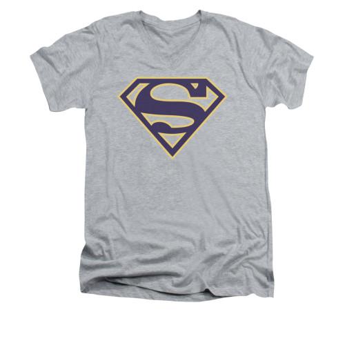 Image for Superman V Neck T-Shirt - Navy & Gold Shield