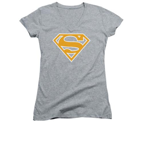 Image for Superman Girls V Neck - Lt Orange & White Shield