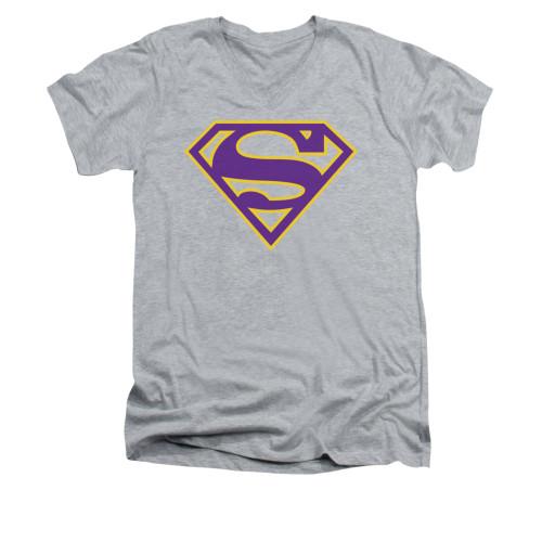 Image for Superman V Neck T-Shirt - Purple & Gold Shield
