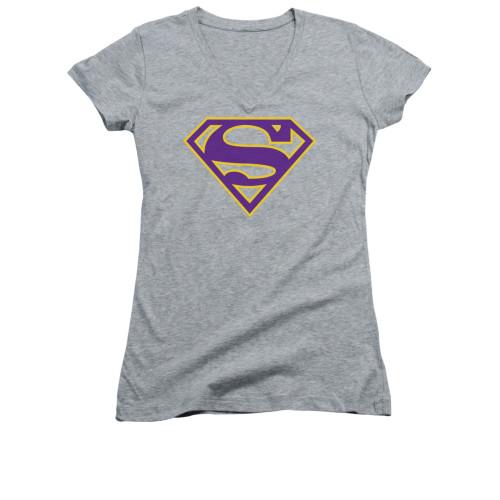 Image for Superman Girls V Neck - Purple & Gold Shield