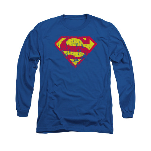 Image for Superman Long Sleeve Shirt - Classic Logo Distressed