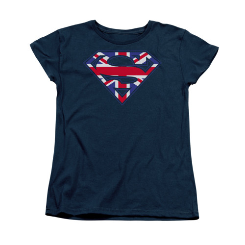 Image for Superman Womans T-Shirt - Great Britian Shield