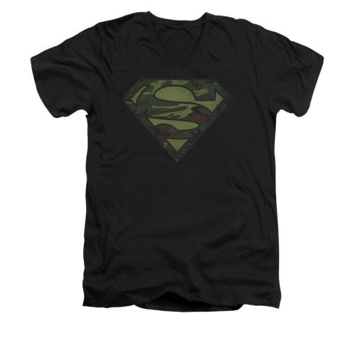 Image for Superman V Neck T-Shirt - Camo Logo Distressed