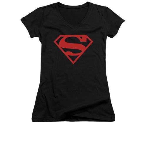 Image for Superman Girls V Neck - Red On Black Shield