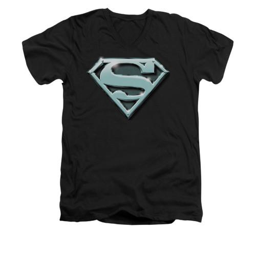 Image for Superman V Neck T-Shirt - Chrome Shield