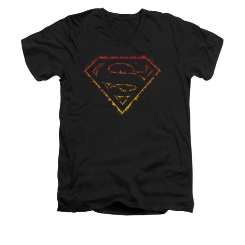 Image for Superman V Neck T-Shirt - Flame Outlined Logo