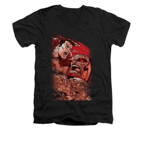 Image for Superman V Neck T-Shirt - Supes Vs Darkseid